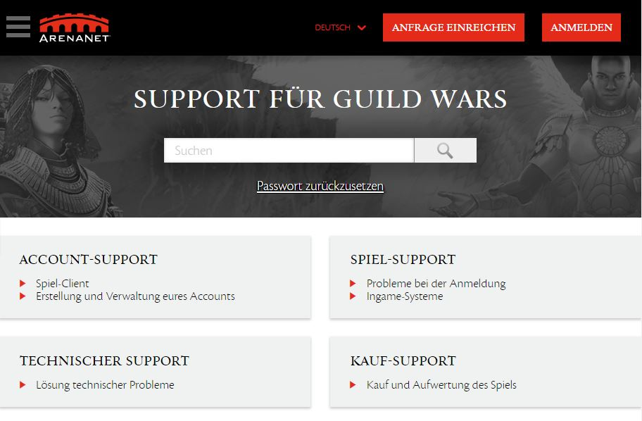 Neue Support-Website für GuildWars